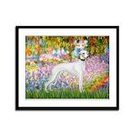 Whippet in Monet's Garden Framed Panel Print