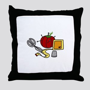 Sewing Supplies Throw Pillow