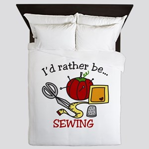 Rather Be Sewing Queen Duvet