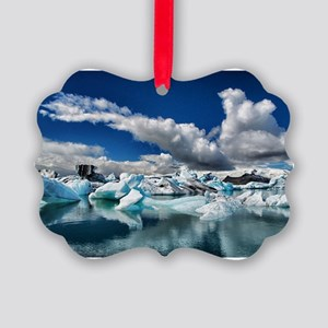 Blue Ice Picture Ornament