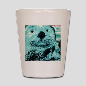 Bright aqua mint Sea Otter Shot Glass