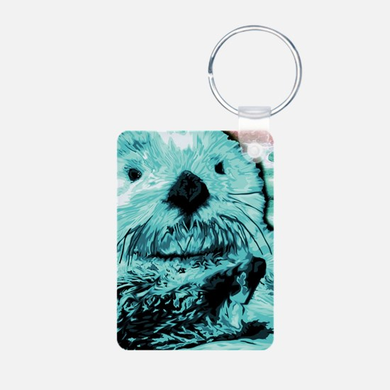 Bright aqua mint Sea Otter Aluminum Photo Keychain