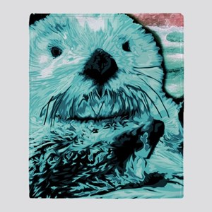 Bright aqua mint Sea Otter Throw Blanket
