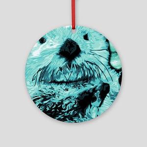 Bright aqua mint Sea Otter Round Ornament
