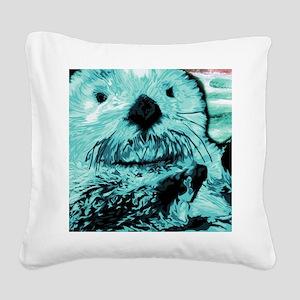 Bright aqua mint Sea Otter Square Canvas Pillow