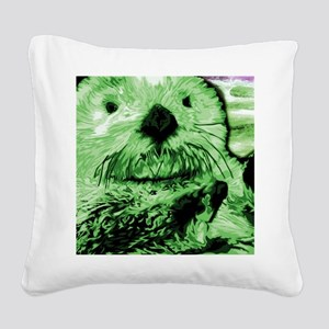 Sea Otter, green Square Canvas Pillow
