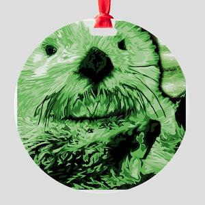 Sea Otter, green Round Ornament