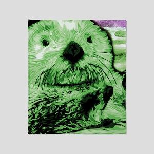 Sea Otter, green Throw Blanket