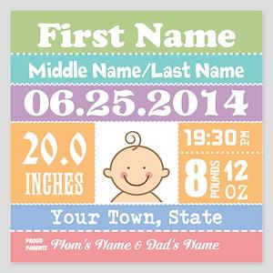 Personalize Baby Birth Stats Invitations