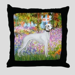 Whippet in Monet's Garden Throw Pillow