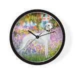 Whippet in Monet's Garden Wall Clock