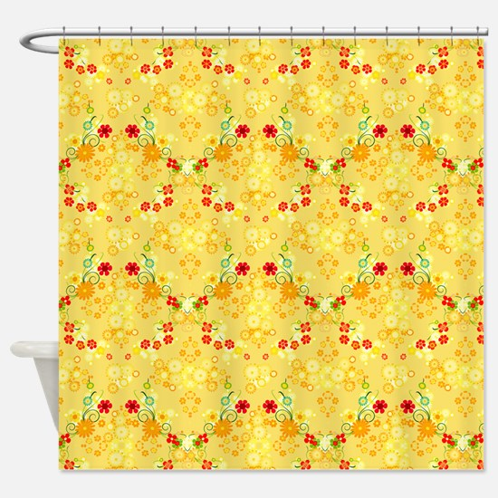 Pretty Yellow And Red Flowers Shower Curtain