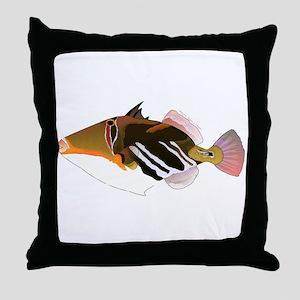White-Banded Lagoon Triggerfish Throw Pillow