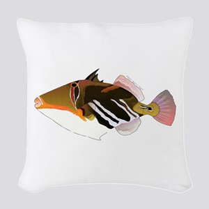 White-Banded Lagoon Triggerfish Woven Throw Pillow