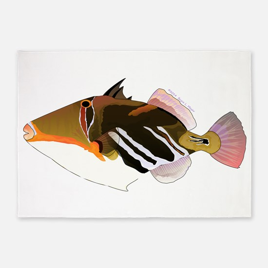 White-Banded Lagoon Triggerfish 5'x7'Area Rug