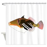 White-Banded Lagoon Triggerfish Shower Curtain