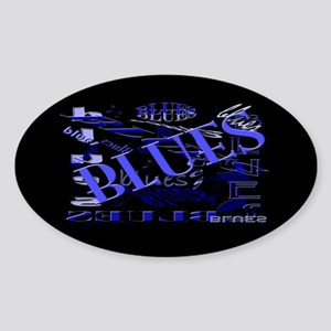 Blues on Blue Dark Oval Sticker