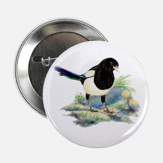 "Watercolor Curious Magpie Bird Nature 2.25"" B"