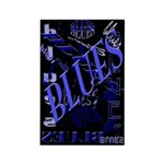 Blues on Blue Rectangle Magnet (100 pack)