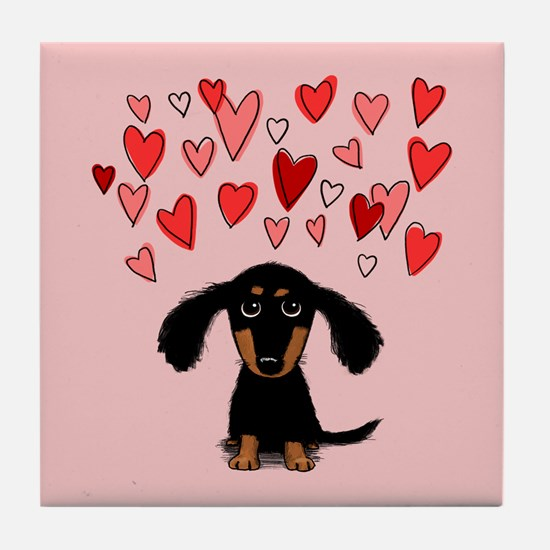 Doxie with Hearts Tile Coaster