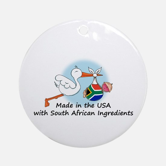 Stork Baby South Africa USA Ornament (Round)