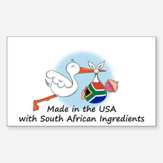Stork Baby South Africa USA Sticker (Rectangle)