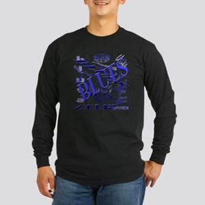 Blues on Blue Long Sleeve Dark T-Shirt