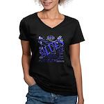 Blues on Blue Women's V-Neck Dark T-Shirt