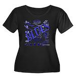 Blues on Blue Women's Plus Size Scoop Neck Dark T-