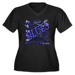 Blues on Blue Women's Plus Size V-Neck Dark T-Shir
