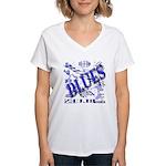 Blues on Blue Women's V-Neck T-Shirt