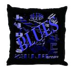 Blues on Blue Dark Throw Pillow