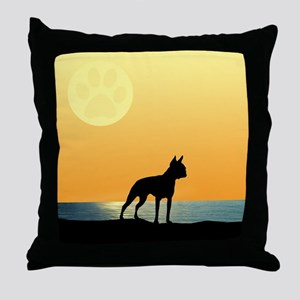 Boston Terrier Surfside Sunset Throw Pillow