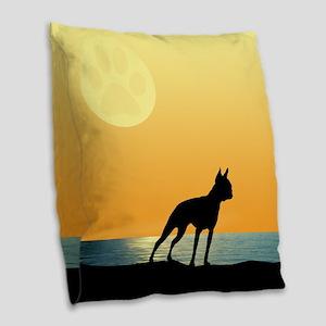 Boston Terrier Surfside Sunset Burlap Throw Pillow