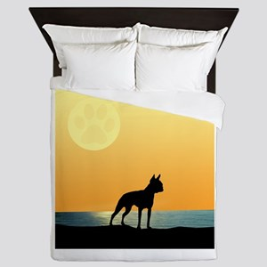Boston Terrier Surfside Sunset Queen Duvet