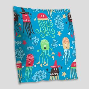 Silly Octopus Burlap Throw Pillow