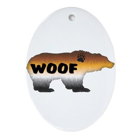 FURRY PRIDE BEAR/WOOF Oval Ornament