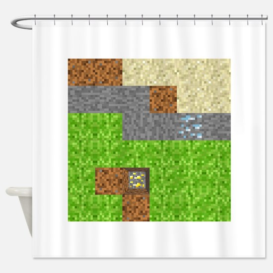 Pixel Art Play Mat Shower Curtain