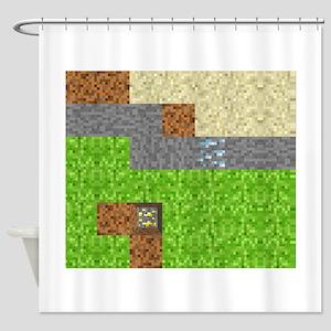 Pixel Art Play Mat Shower Curtain