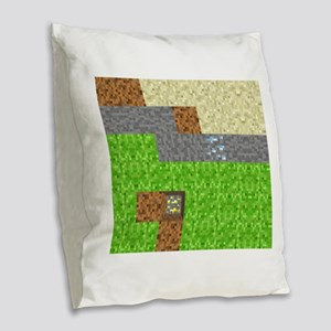 Pixel Art Play Mat Burlap Throw Pillow