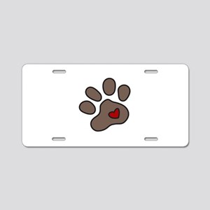 Puppy Paw Aluminum License Plate