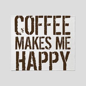Coffee makes me happy Throw Blanket