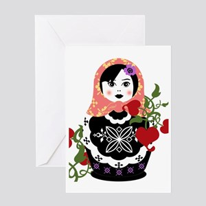 Nesting Doll In Flowers Greeting Card