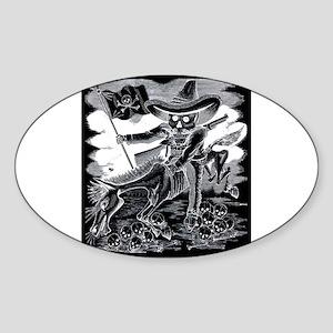 Calavera Zapatista - Zapata Oval Sticker