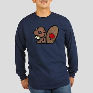 Canada Beaver Long Sleeve Dark T-Shirt