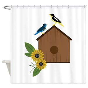 Flowers And Birdhouse Shower Curtains