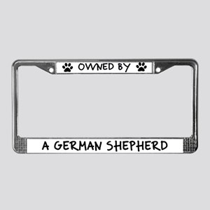 Owned by a German Shepherd License Plate Frame