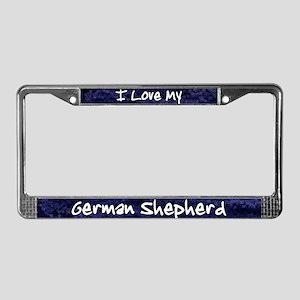 Funky Love German Shepherd License Plate Frame