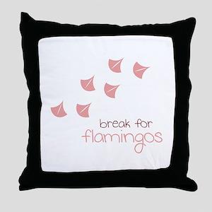 Break For Flamingos Throw Pillow