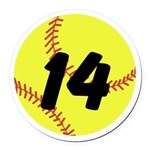 Custom Softball Round Car Magnet
